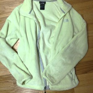 Lime Green North Face fuzzy jacket